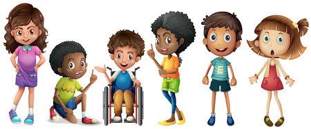 silla de ruedas: Ilustración de un grupo de niños en un fondo blanco