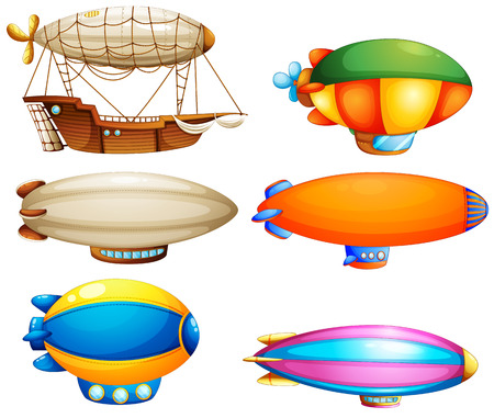 blimps: Illustration of the sets of flying objects on a white background Illustration