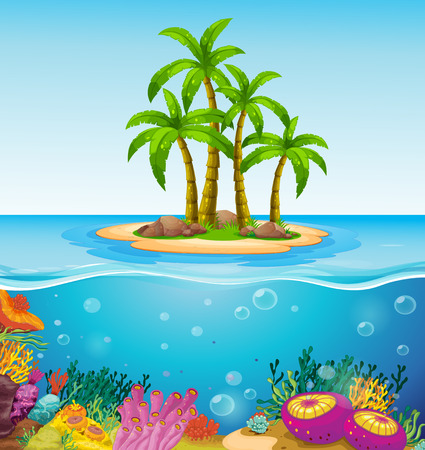 seaweeds: Illustration of a beautiful island in the middle of the sea