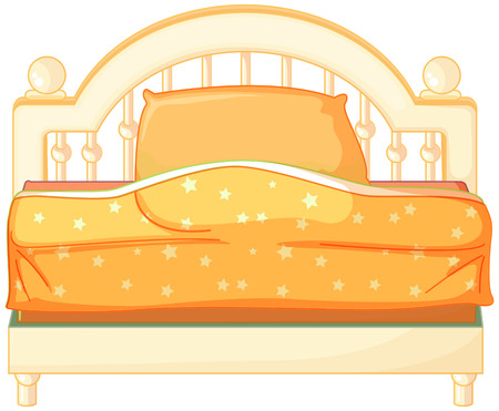 cartoon bed: Illustration of a king sized bed on a white background