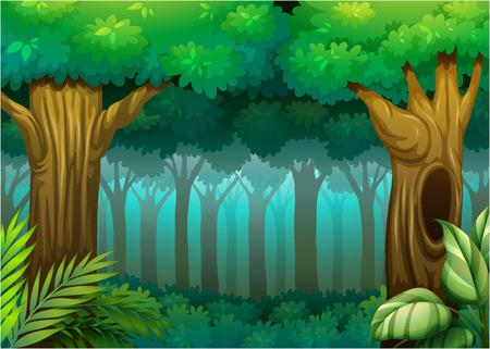 Ilustración de una escena del bosque profundo