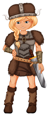 Illustration of a female viking