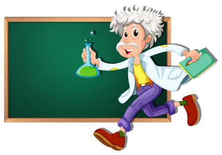 Illustration of a scientist running in front of a blackboard Illustration
