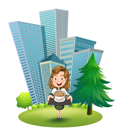 Illustration of a woman outside the building holding a tray with coffee on a white background Vector
