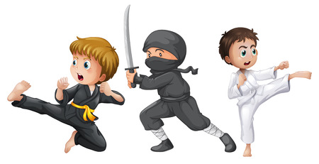 niño: Ilustración de los tres luchadores valientes sobre un fondo blanco Vectores
