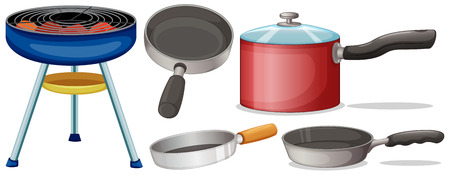 fryer: Illustration of different cooking equipment