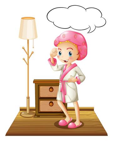 drawers: Illustration of a girl in bathrobe thinking Illustration