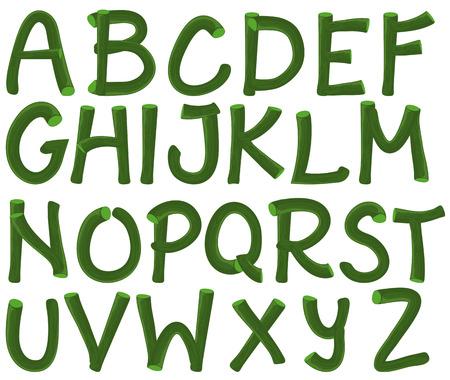 Illustration of a set of green alphabet