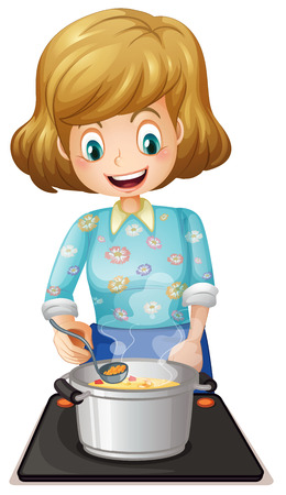 pot: Illustration of a happy mother cooking on a white background Illustration