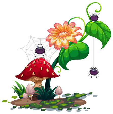 giant mushroom: Illustration of a plant with spiders on a white background Illustration