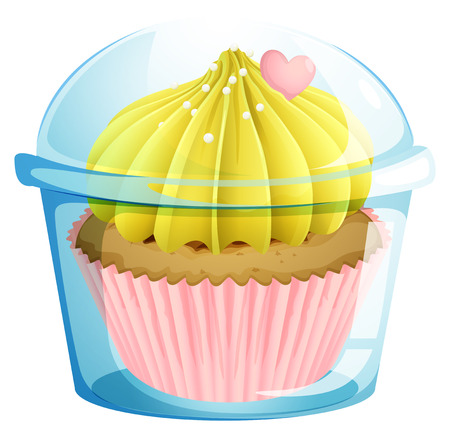 flavorful: Illustration of a cupcake inside the transparent container on a white background Illustration