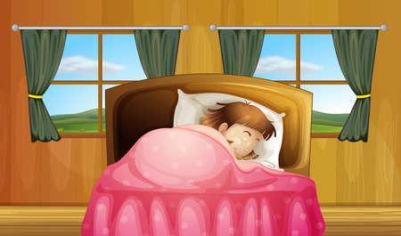 Illustration of a girl sleeping in a bedroom Vector
