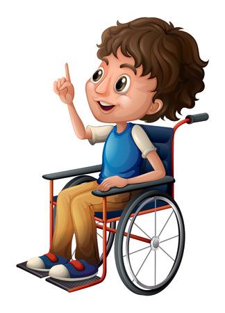 Ilustración de un hombre en una silla de ruedas sobre un fondo blanco Ilustración de vector