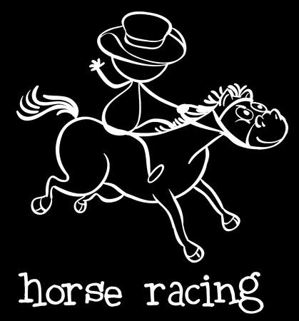 Illustration of a stickman riding a horse Vector