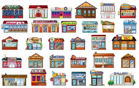 moviehouse: Illustration of the different buildings on a white background Illustration