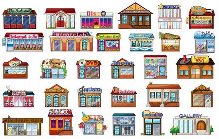 hospital caricatura: Ilustraci�n de los diferentes edificios en un fondo blanco Vectores