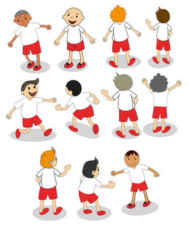 Illustration of the set of boys playing on a white background Vector