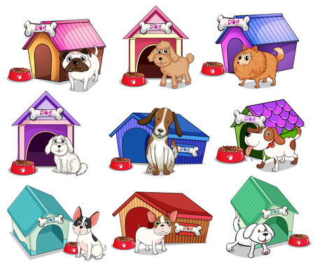 Illustration of the dogs with houses on a white background Vector