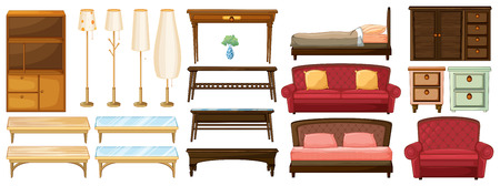 Illustration of the different furnitures on a white background