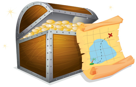 Illustration of a treasure box and a map Stock Illustratie