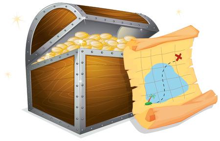 Illustration of a treasure box and a map Vettoriali