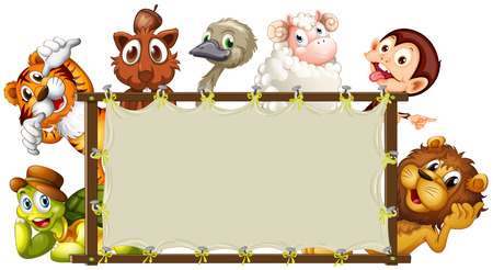 Illustration of a set of animals around a sign Vector