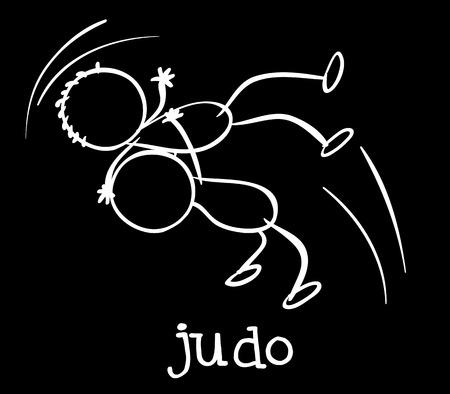 Illustration of two stickmen playing judo Illustration