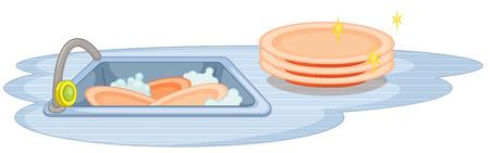 wash dishes: Ilustración de un fregadero con muchos platos