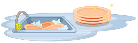 Illustration of a sink with many dishes