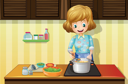 Illustration of a woman cooking in a kitchen Vector