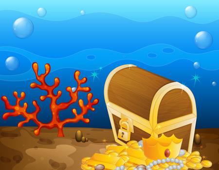 treasure chest: Illustration of an underwater treasure
