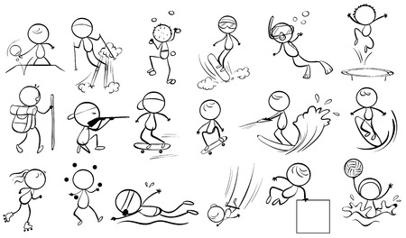 wakeboarding: Illustration of the doodle design of people engaging in different sports on a white background
