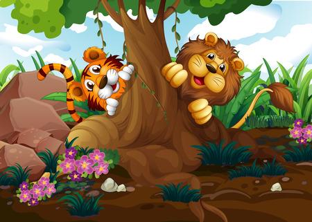 tigre caricatura: Ilustración de un tigre y un león jugando en el bosque