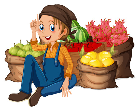 Illustration of a young farmer near his harvested fruits on a white background Ilustração