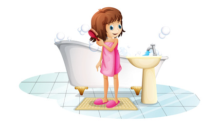 little girl bath: Illustration of a young girl combing her hair after taking a bath on a white background