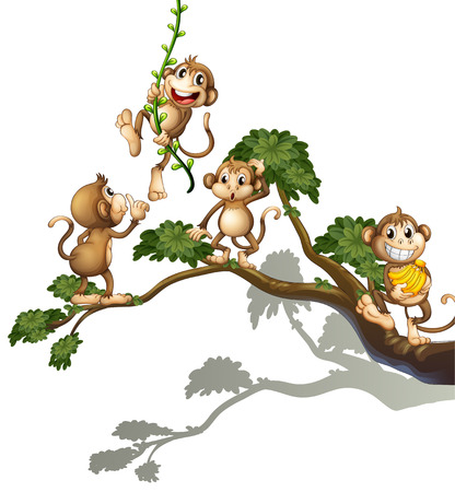 Illustration of a tree with four monkeys on a white background Illustration