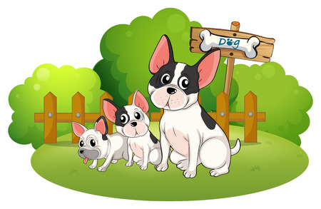 bestfriend: Illustration of a backyard with three bulldogs on a white background Illustration
