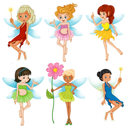 Illustration of fairies set on white