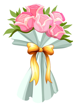 Illustration of a bouquet of pink roses on a white background Vector
