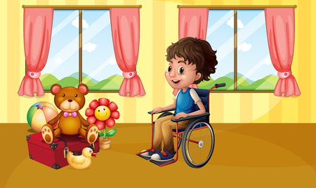 stuff toys: Illustration of a boy sitting in a wheelchair Illustration