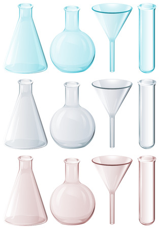 ml: Illustration of the different laboratory instruments on a white background Illustration