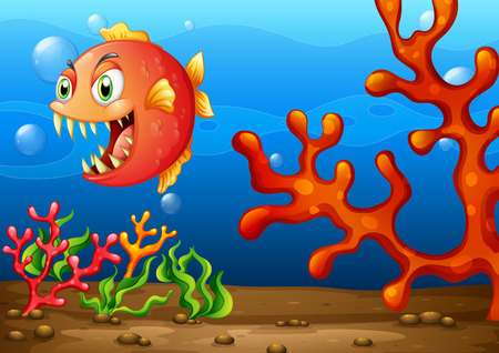 sea monster: Illustration of a sea monster under the ocean