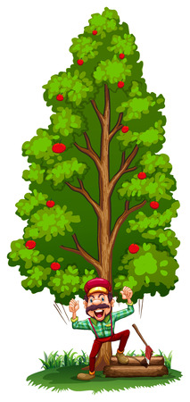 cutting grass: Illustration of a happy woodman under the tree on a white background