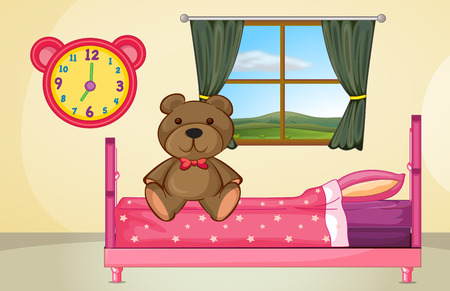 view of a comfortable bedroom: Illustration of a bear sitting on a bed