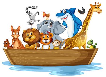 tortuga caricatura: Ilustración de muchos animales en el barco