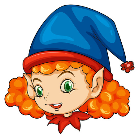 pointed: Illustration of an elf wearing a blue hat on a white background Illustration