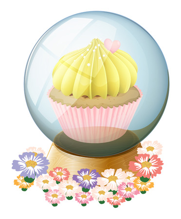 Illustration of a clear crystal ball with a cupcake inside on a white background Vector