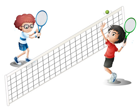 Illustration of kids playing tennis