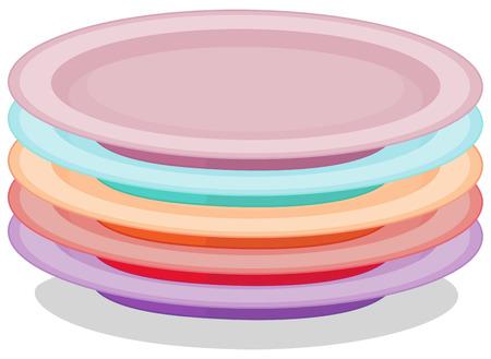Illustratie van een stapel borden