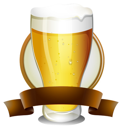 lable: Illustration of a glass of beer with lable